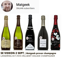 Matgeek provar våra nya champagner.