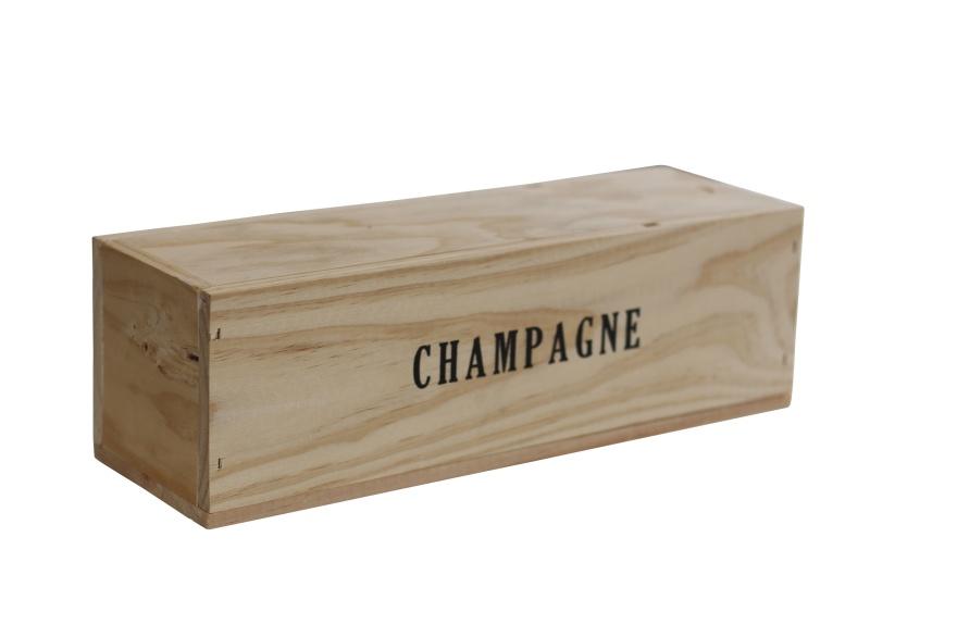 Champagnelåda i trä för en flaska.