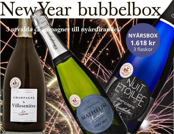 Champagnelåda till nyår från Bonnebox.