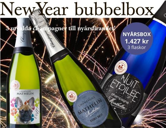 Champagnelåda för frallaälskare till nyår från Bonnebox.