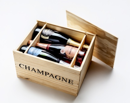 Champagnelåda i trä | 6 flaskor -