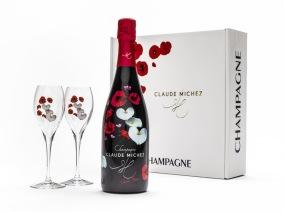 Champagnelåda Flore, blommig med två glas -