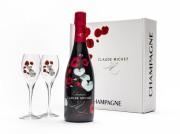 Champagnelåda Flore, blommig med två glas