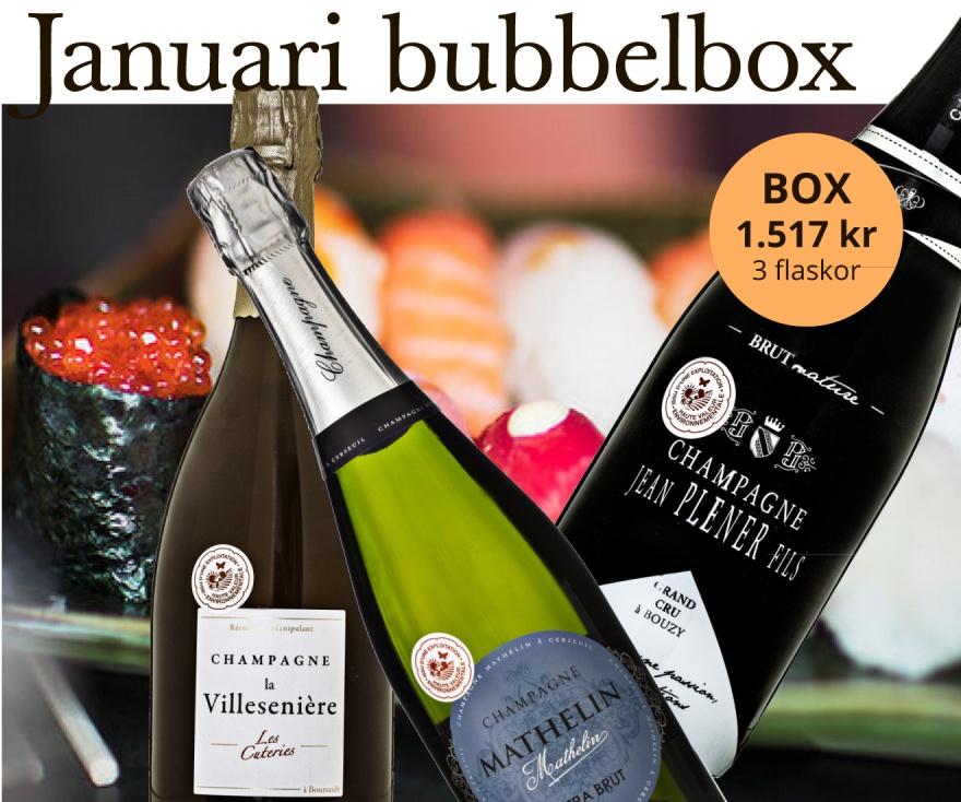 Januari månads bubbelbox med tema sushi.