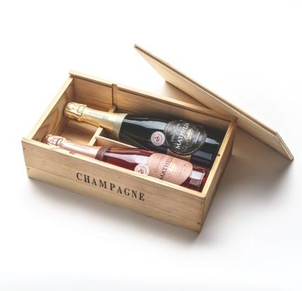 Champagnelåda i trä | 2 flaskor -