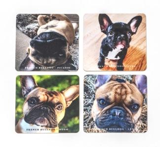 Glasunderlägg, fransk bulldogg -