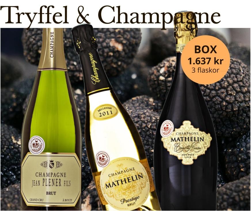 Champagnelåda med tryffel och champagne.