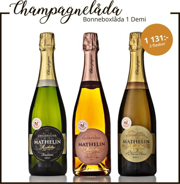 Bonneboxlåda 1 Demi med champagne.