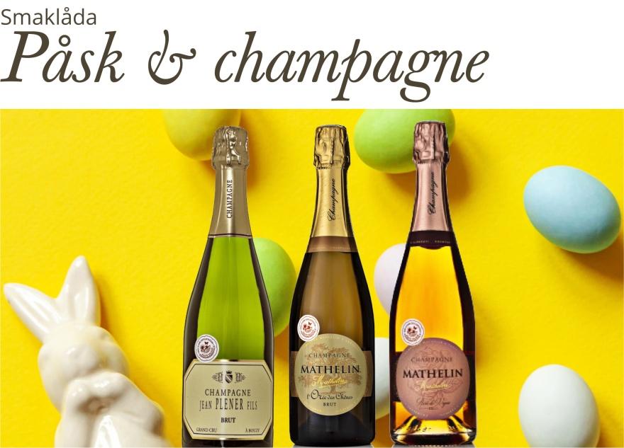 Smaklåda med champagne för påsken.