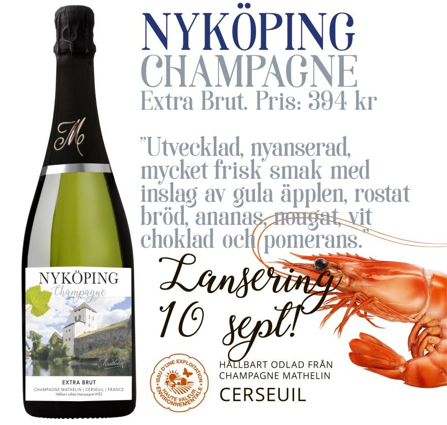 Nyköping Champagne Mathelin Extra Brut   394 SEK