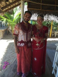 På Sri Lanka är det den röda färgen som gäller vid bröllop.