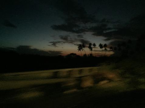 Solnedgång från vår tuk-tuk-färd från Galle.