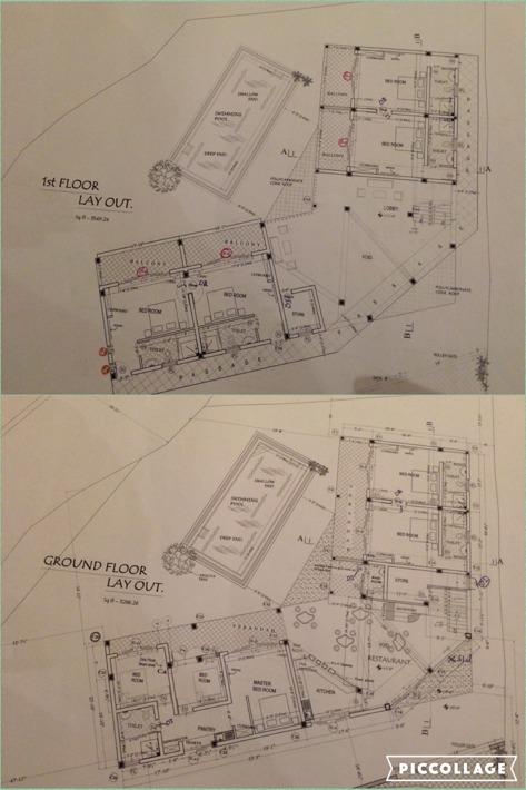 Ritningen för botten- och första våning.