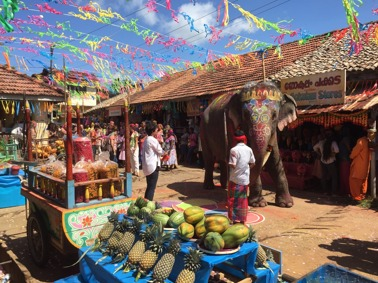 Fejkad indisk marknad på Sri Lanka.