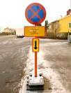 Skylt avhysning av gata
