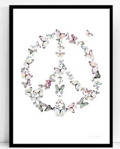 Peace butterflies, 50x70