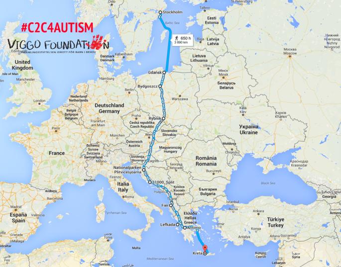 Den planerade rutten genom Europa #C2C4Autism