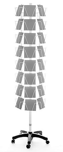 Golvställ i inplastad metall (vit) för 48 stora dubbla kort med kuvert. Art nr 264