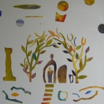 Hemma, 75x68cm, collage, Pris 6000:-