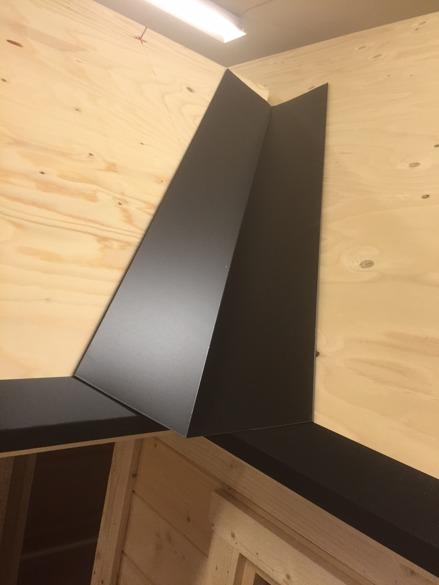 Verlegung der Winkelbleche für die Bedachung