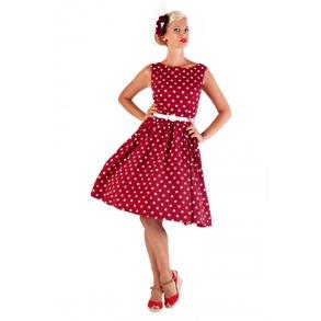 Audrey dress  Lindy Bop - röd/vit, Stl M