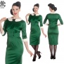 Miss Moneypenny dress - grön sammet  stl L