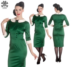 Miss Moneypenny dress - grön sammet  stl M