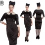 Miss Moneypenny dress - svart sammet  stl L