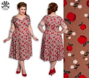 Sheila dress - brun med röda äpplen stl S