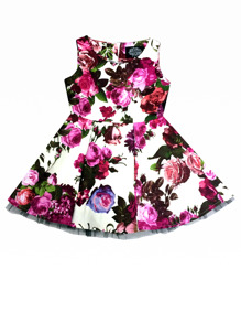 Audrey 50`s Cream Floral Swing dress - Andrey 50´s  stl 3-4 år