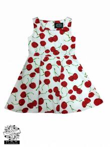 Barnklänning Bombshell Cherry 2färger - Barn klänning vit körsbär stl 3-4 år