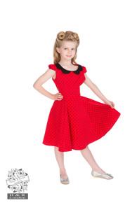 Barnklänning  röd/svart prickig - barnklänning prickig stl 3-4år