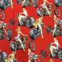 Motorcyklar och Pinupor  AH - motorcykel,pinupa,  röd  1m