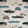 Cadillac, Chrysler  tyg  2 olika bottenfärger - Cadillac, chrysler, grå,  1m