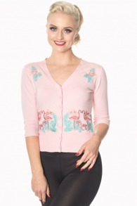 Flamingo cardigan 3 färger - Flamingo kofta rosa stl S