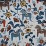 Leksand mini  dalahäst tyg 9 olika färger - Leksand mini blå och bruna hästart 1m