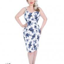 Blue Rosaceae pencil dress