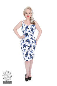 Blue Rosaceae pencil dress - Blue rose smal stl XS