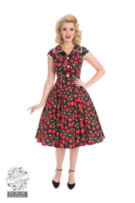 Cherry red vintage dress - Cherry red vintage stl XS