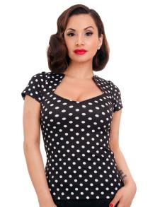 Sophia polka dot - Sophia, svart med vita prickar, stl S