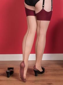 Glamour Contrast Seamed Stockings 7 färger - strumpor champagne/claret stl S-M