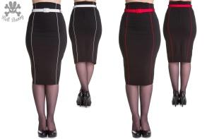 Kristina pencil kjol - kristina svart/röd stl 4XL