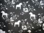 Leksand mini  dalahäst tyg 9 olika färger - Leksand mini svart/vit 1m
