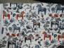 Leksand mini  dalahäst tyg 9 olika färger - Leksand mini mörkblå och röda hästar 1m