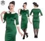 Miss Moneypenny dress - grön sammet  stl L