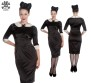 Miss Moneypenny dress - svart sammet  stl L