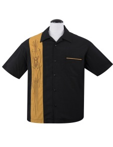V-8 Pinstripe Panel Shirt - V-8 pinstriping Mustard stl XS