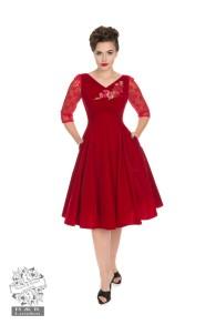 Divine Velvet swing dress - Divine dress röd stl XS