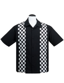 V8 Checkered mini panel shirt - pepita skjorta stl XS