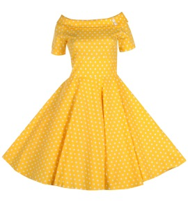 Darlene 50`s swing dress - darlene gul/vit dot stl M